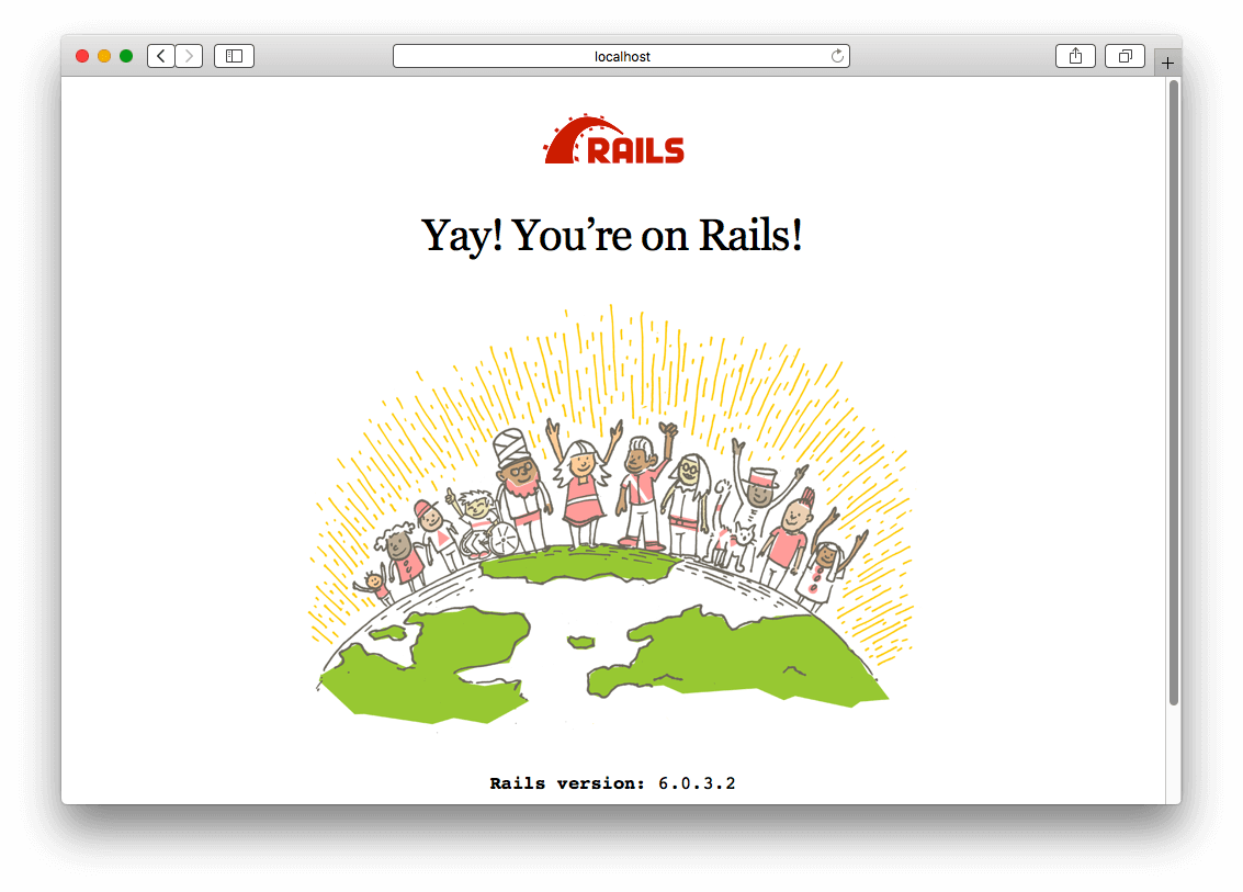 Rails landing page saying Yay! You're on Rails!
